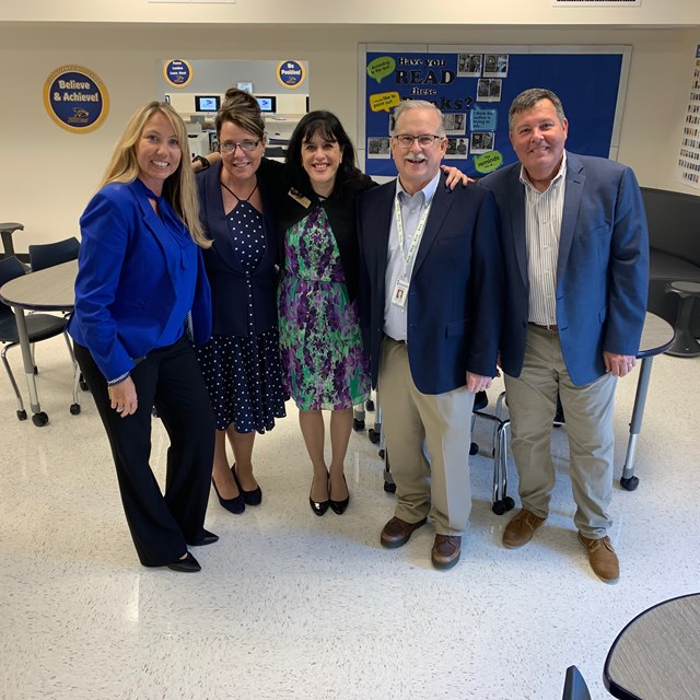 GGUSD Board Member Bob Harden, Superintendent Gabriela Mafi, Assistant Superintendent Kelly McAmis were given a tour of our new Media and Technology centers at Fitz Open House